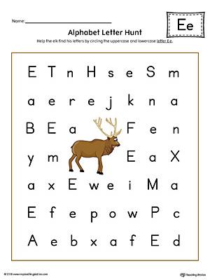 Alphabet Letter Hunt: Letter E Worksheet (Color)   MyTeachingStation.com