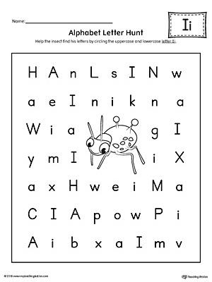 early childhood alphabet worksheets myteachingstation comalphabet letter hunt letter i worksheet