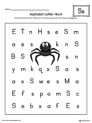Alphabet Letter Hunt: Letter S Worksheet (Color)