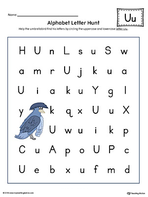Preschool printable worksheets myteachingstation alphabet letter hunt letter u worksheet color altavistaventures Images
