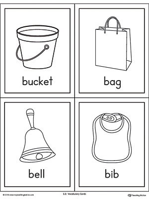 Letter B Words and Pictures Printable Cards: Bucket, Bag, Bell, Bib