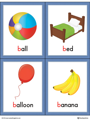 Letter B Words and Pictures Printable Cards: Ball, Bed, Balloon, Banana (Color)