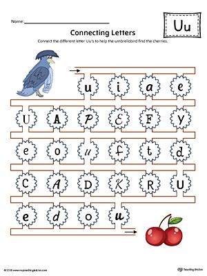 Preschool and kindergarten worksheets myteachingstation finding and connecting letters letter u worksheet color altavistaventures Gallery