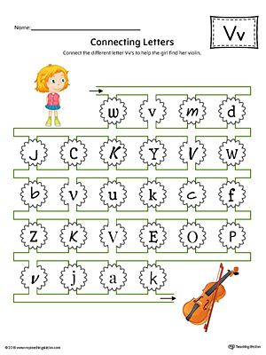 Exceptional Finding And Connecting Letters: Letter V Worksheet (Color)