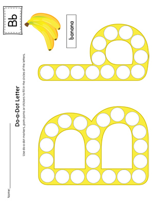 Letter B Do-A-Dot Worksheet (Color)