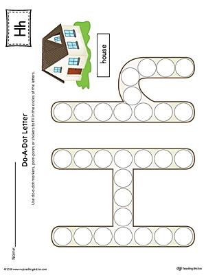 Letter H Do-A-Dot Worksheet (Color) | MyTeachingStation.com