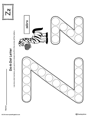 Letter Z Do A Dot Worksheet (Color)