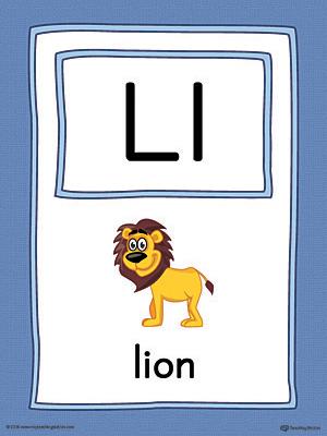 Letter L Large Alphabet Picture Card Printable (Color ...