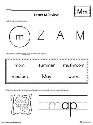 Learning the Letter M Worksheet | MyTeachingStation.com