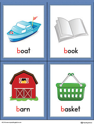 Letter B Words and Pictures Printable Cards: Boat, Book, Barn, Basket (Color)
