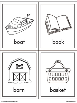 Letter B Words and Pictures Printable Cards: Boat, Book, Barn, Basket