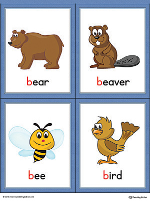 Letter B Words and Pictures Printable Cards: Bear, Beaver, Bee, Bird (Color)