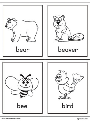 Letter B Words and Pictures Printable Cards: Bear, Beaver, Bee, Bird