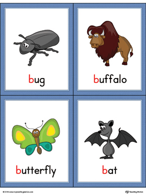 Letter B Words and Pictures Printable Cards: Bug, Buffalo, Butterfly, Bat (Color)