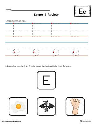 short letter e beginning sound picture match worksheet color. Black Bedroom Furniture Sets. Home Design Ideas