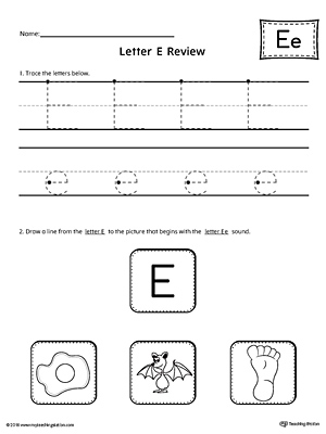 letter e review worksheet. Black Bedroom Furniture Sets. Home Design Ideas