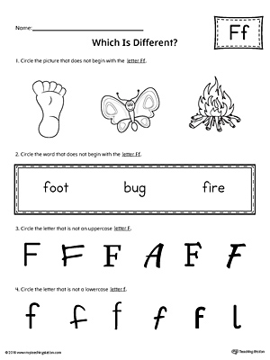Use the Letter F Which is Different to practice identifying the uppercase and lowercase letter F and it