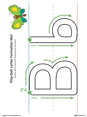 Letter Formation Play-Doh Mat: Letter B Printable (Color)