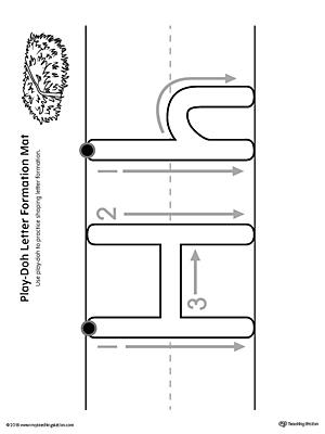 Letter Formation Play Doh Mat: Letter H Printable