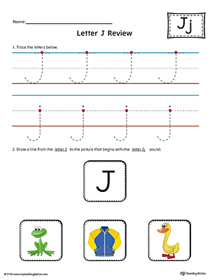 Use the Letter J Review in Color worksheet to help your student practice tracing and the beginning sound of the letter J.