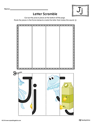 Use the Letter J Scramble in Color printable worksheet to aid your student in recognizing the letter J and it