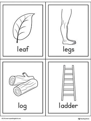 Letter L Words and Pictures Printable Cards: Leaf, Legs ...