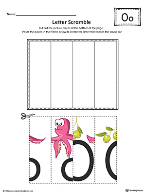 Use the Letter O Scramble in Color printable worksheet to aid your student in recognizing the letter O and it