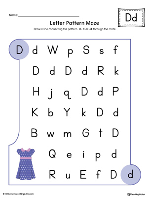 Letter D Pattern Maze Worksheet Color