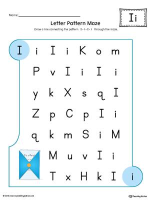 Letter I Pattern Maze Worksheet Color Myteachingstation