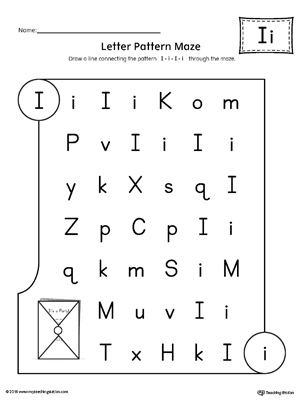 letter i pattern maze worksheet. Black Bedroom Furniture Sets. Home Design Ideas