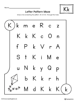 letter k pattern maze worksheet. Black Bedroom Furniture Sets. Home Design Ideas