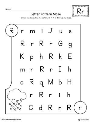 Letter R Pattern Maze Worksheet Myteachingstation