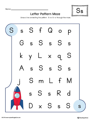 Letter S Pattern Maze Worksheet (Color)