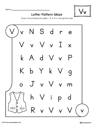 Letter V Pattern Maze Worksheet