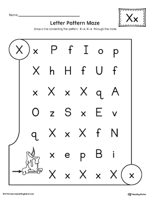 Letter X Pattern Maze Worksheet | MyTeachingStation.com