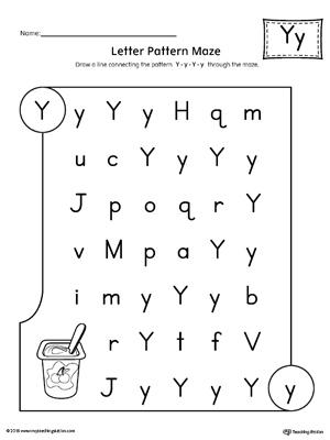 Preschool writing printable worksheets myteachingstation letter y pattern maze worksheet ibookread ePUb