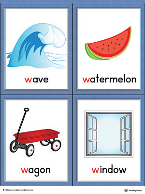 Letter W Words and Pictures Printable Cards: Wave ...
