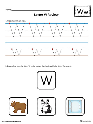 Say and Trace: Letter W Beginning Sound Words Worksheet ...