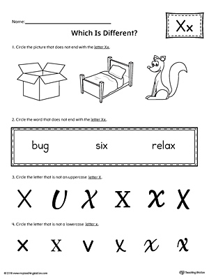 Use the Letter X Which is Different to practice identifying the uppercase and lowercase letter X and it