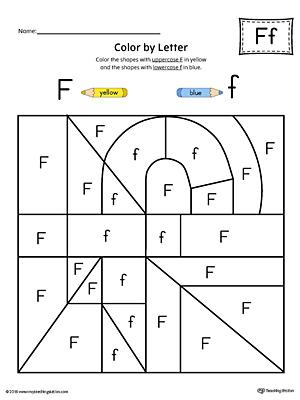 lowercase letter f color by letter worksheet. Black Bedroom Furniture Sets. Home Design Ideas