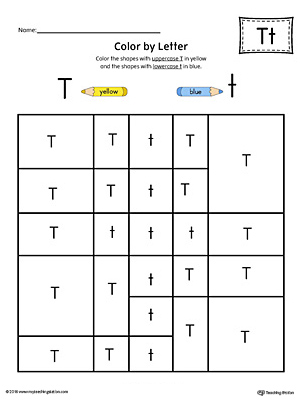 Lowercase Letter T Color By Worksheet