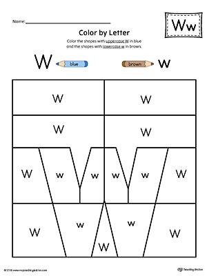 lowercase letter w color by letter worksheet. Black Bedroom Furniture Sets. Home Design Ideas