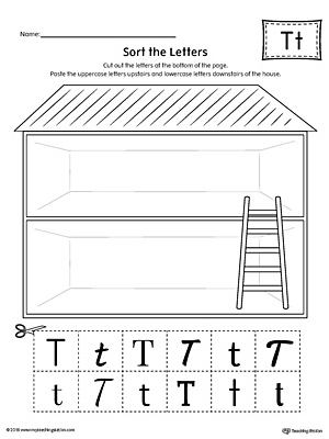 Sort The Uppercase And Lowercase Letter T Worksheet
