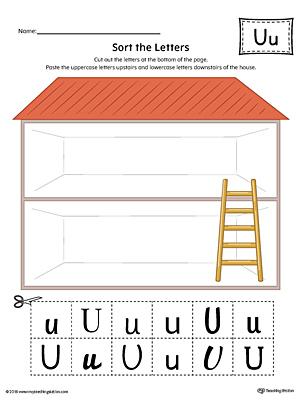 Kindergarten reading printable worksheets myteachingstation sort the uppercase and lowercase letter u worksheet color altavistaventures Gallery