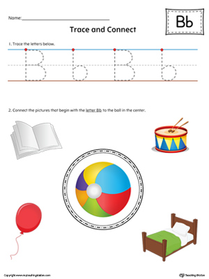 Trace Letter B and Connect Pictures Worksheet (Color)