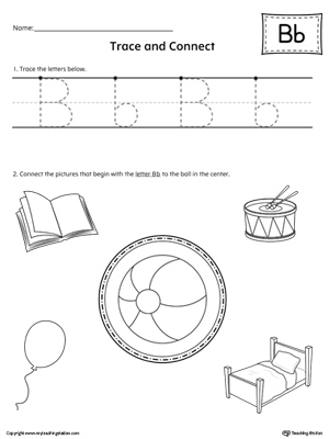 Trace Letter B and Connect Pictures Worksheet