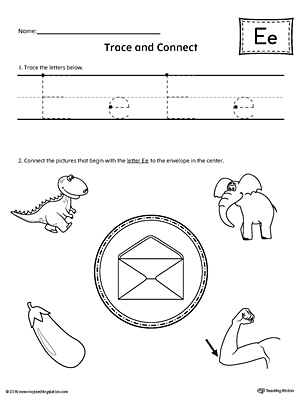 trace letter e and connect pictures worksheet. Black Bedroom Furniture Sets. Home Design Ideas