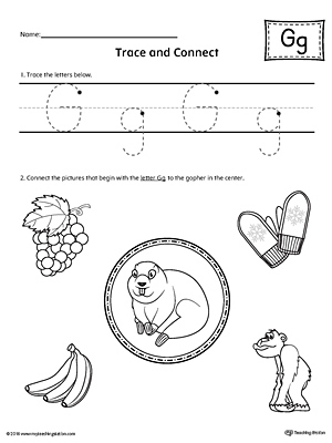 trace letter g and connect pictures worksheet. Black Bedroom Furniture Sets. Home Design Ideas