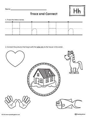 trace letter h and connect pictures worksheet. Black Bedroom Furniture Sets. Home Design Ideas