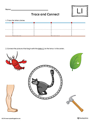 Trace Letter L and Connect Pictures (Color) printable worksheet available for download at myteachingstation.com.